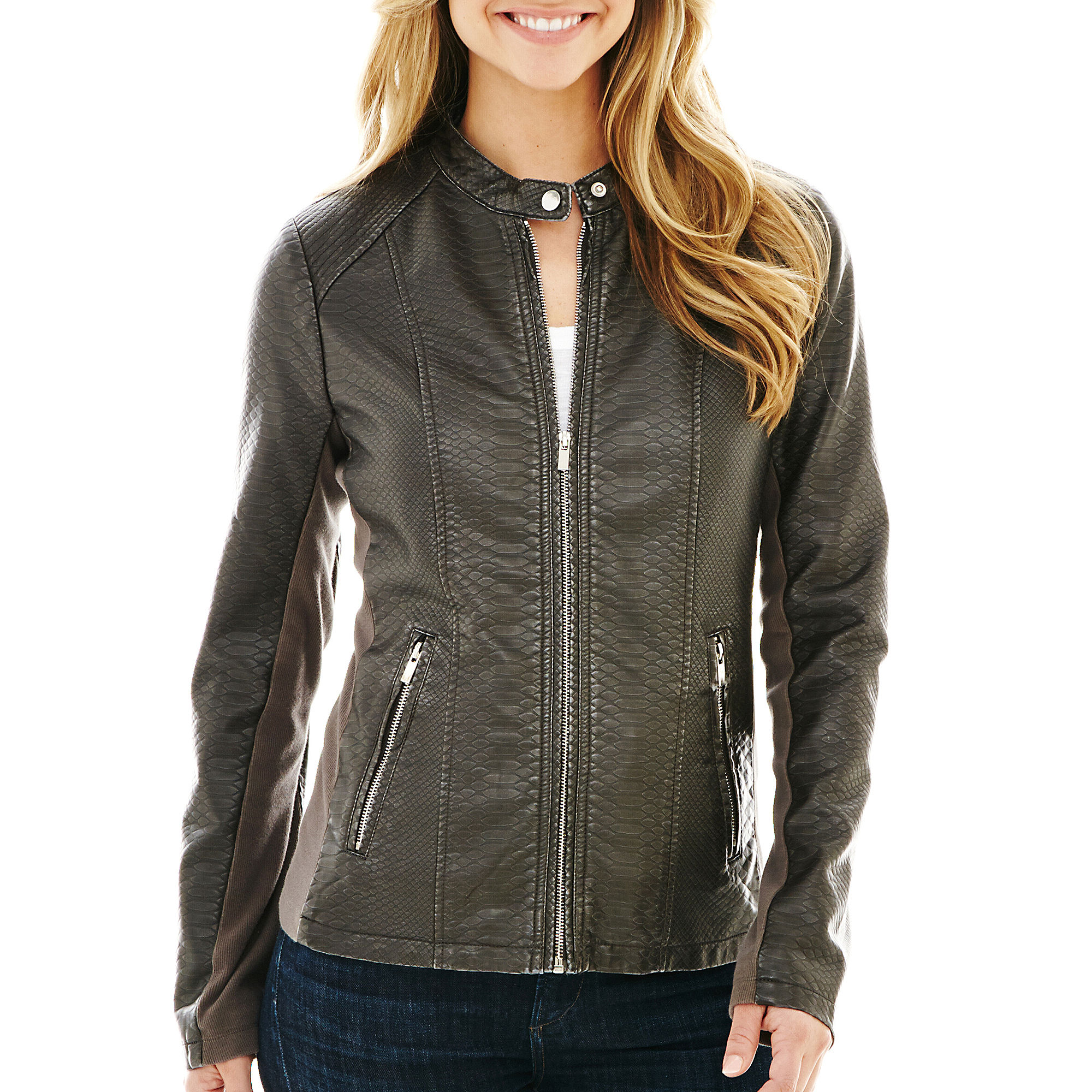 a.n.a Classic Scuba Faux-Leather Jacket