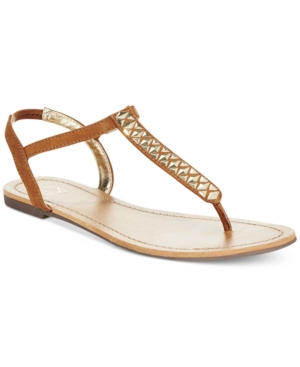 Material Girl Sage T-Strap Flat Thong Sandals
